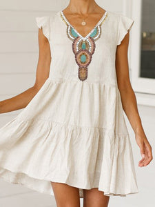 Printed V-neck short sleeve dress