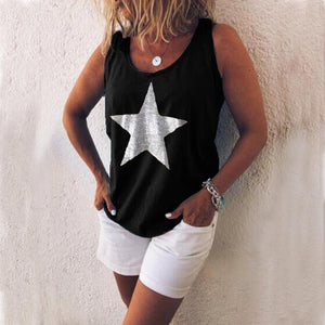 Printed pentagram round neck vest