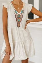 Load image into Gallery viewer, Printed V-neck short sleeve dress