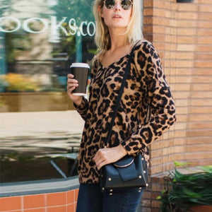Leopard-print V-neck halter knot long-sleeved T-shirt women