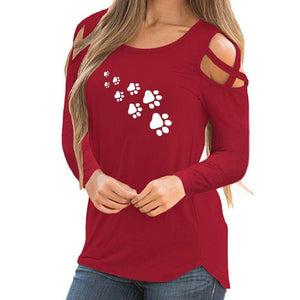 Printed long sleeve strapless T-shirt