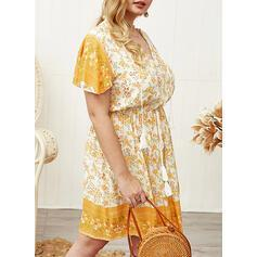Print/Floral Short Sleeves A-line Knee Length Casual/Boho/Plus Size Dresses