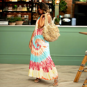 Printed vest tie-dyed casual women's dress