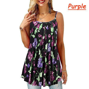Printed pleated big swing loose camisole