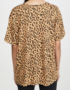 Round neck pullover leopard print loose women's short sleeve T-shirt