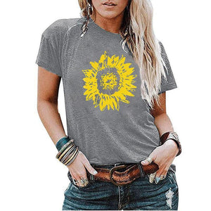 Sunflower printed loose round neck short sleeve t-shirt
