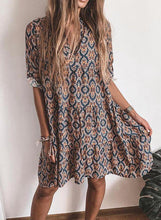 Load image into Gallery viewer, Print 1/2 Sleeves Shift Knee Length Casual/Vacation Dresses