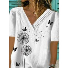 Load image into Gallery viewer, Print V-Neck Short Sleeves Casual Blouses