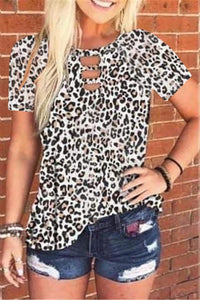 Round neck tie-dye leopard print short-sleeved T-shirt