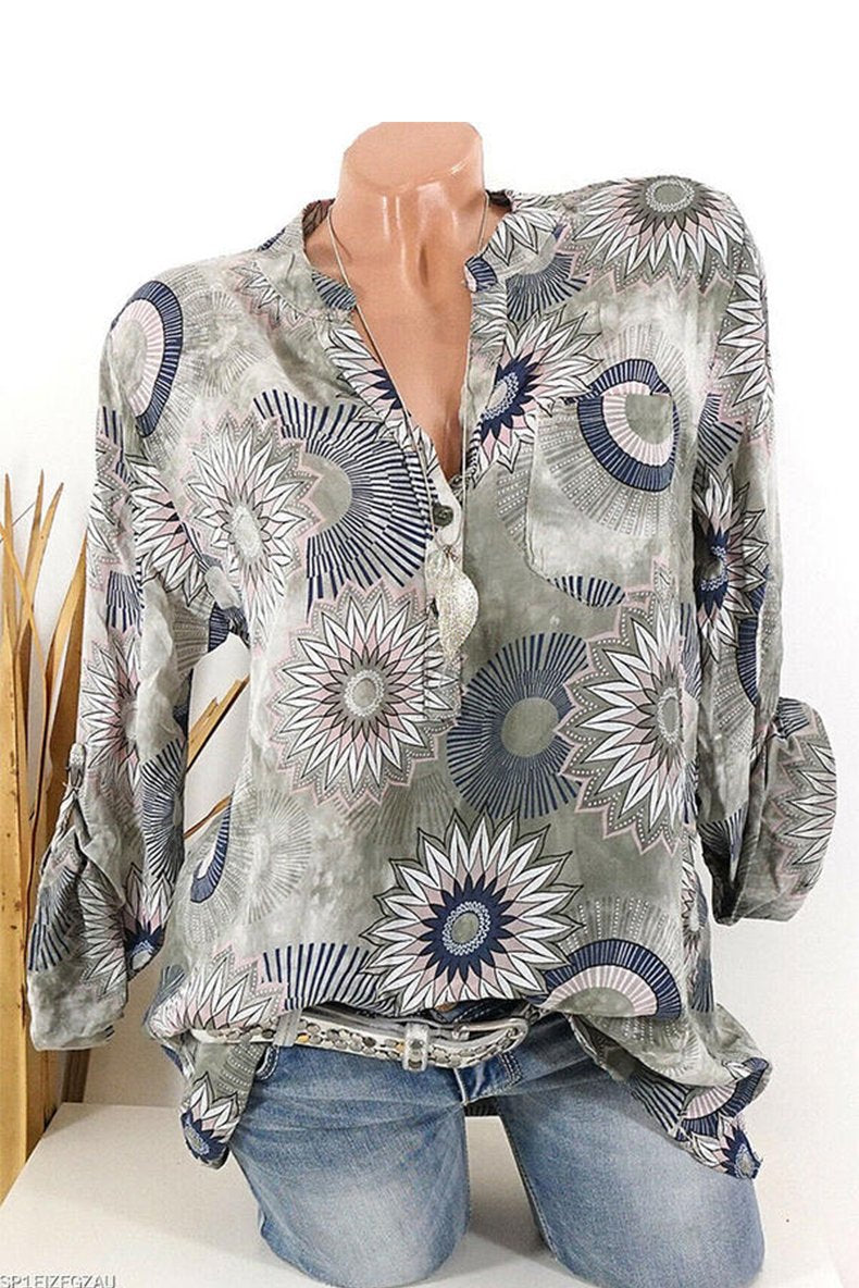 Printed floral V-neck long sleeve button down casual elegant blouse