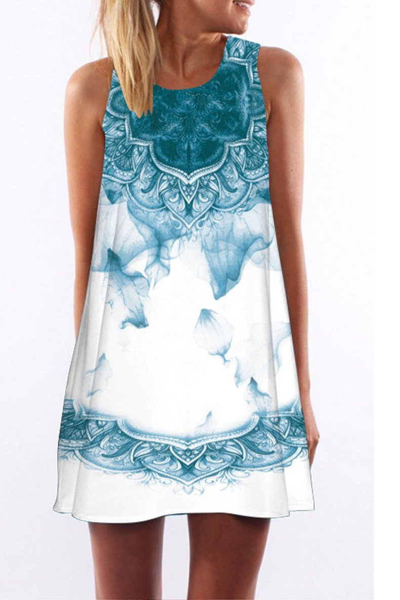 Printed round neck sleeveless dress