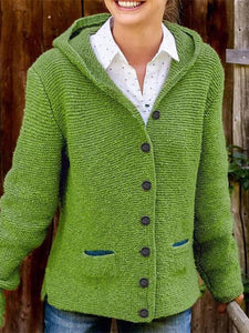 Casual knit Hooded Sweater Cardigan  |ZTD
