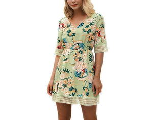 Mid-sleeve Printed Skirt V-neck Dress