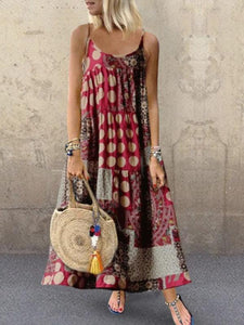 Women's Casual Loose Print Sling Long Casual Dress