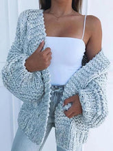 Load image into Gallery viewer, Oversize V-neck Lantern Sleeve Cardigan Sweater  | ZDT