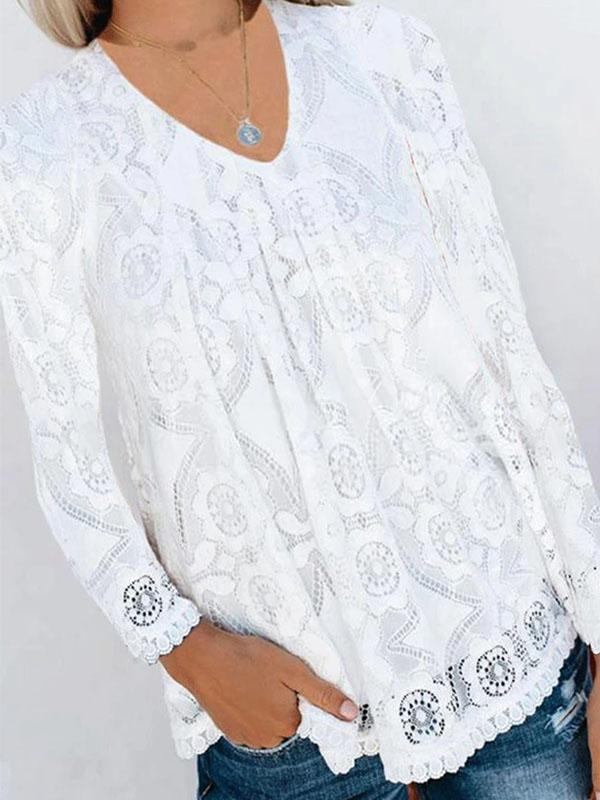 Cute V Neck Long Sleeve Lace Blouse