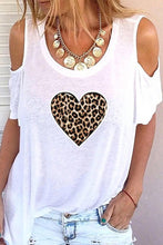 Load image into Gallery viewer, Print Leopard Cold Shoulder 1/2 Sleeves Casual T-shirts