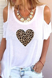 Print Leopard Cold Shoulder 1/2 Sleeves Casual T-shirts