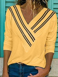 V-Neck Patchwork Wild Long-Sleeved T-Shirt