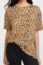 Load image into Gallery viewer, Round neck pullover leopard print loose women's short sleeve T-shirt