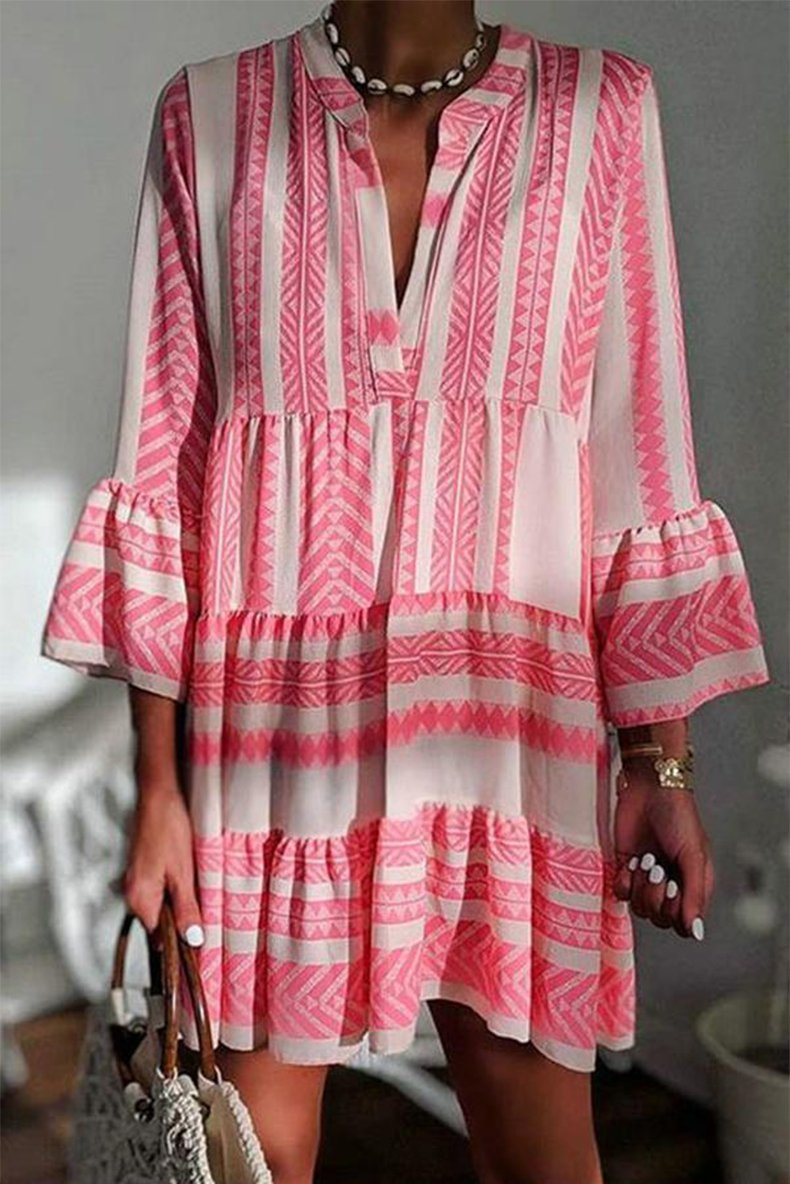 Striped Pleated Flared Sleeve Dress