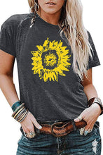 Load image into Gallery viewer, Sunflower printed loose round neck short sleeve t-shirt