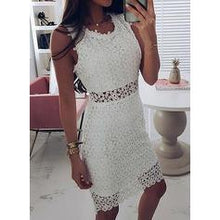 Load image into Gallery viewer, Lace/Solid Sleeveless Sheath Knee Length Casual/Elegant Dresses