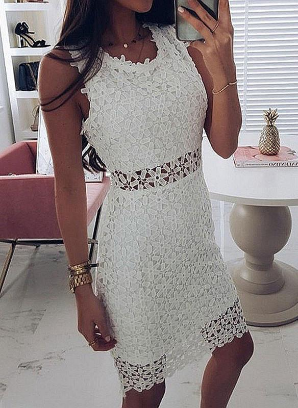 Lace/Solid Sleeveless Sheath Knee Length Casual/Elegant Dresses