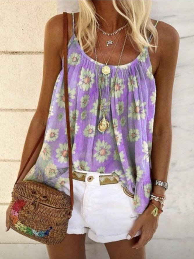 Sleeveless Spaghetti Floral-Print Vests