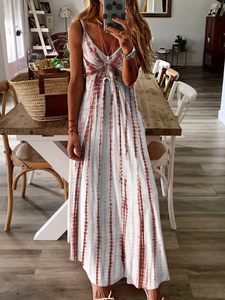 Holiday A-Line V Neck Sleeveless Maxi Dress