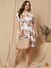 Load image into Gallery viewer, YOINS Plus Size White Random Floral Print Off The Shoulder Dress