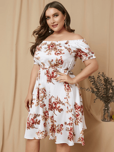 YOINS Plus Size White Random Floral Print Off The Shoulder Dress