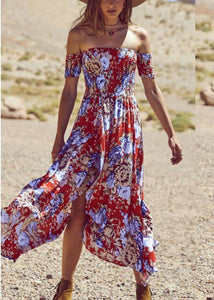 Off Shoulder Printed Short Sleeved Dress