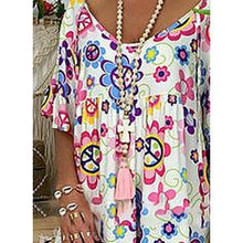 Load image into Gallery viewer, Print/Floral 1/2 Sleeves Shift Knee Length Casual/Boho/Vacation Dresses