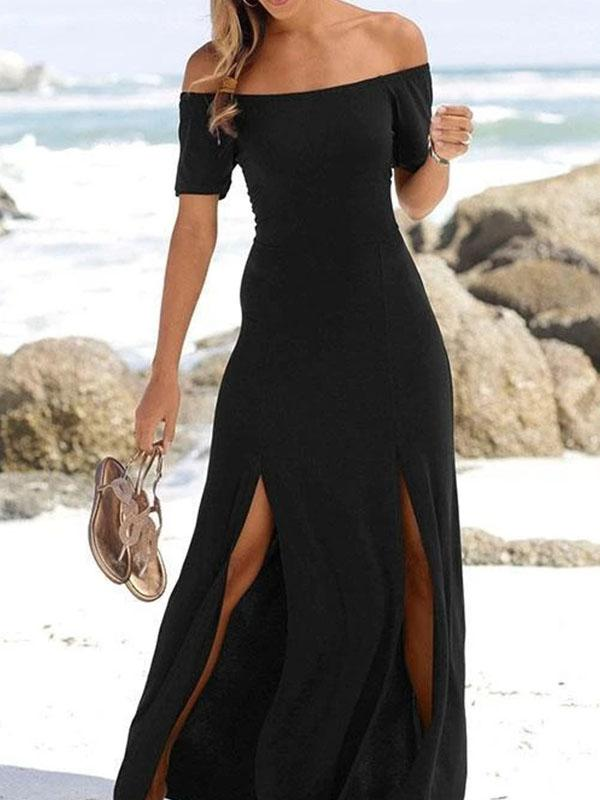 Off Shoulder Short Sleeve Hem Split Maxi Dress