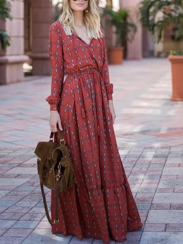 Casual Sexy Deep V   Neck National Style Print Casual Maxi Dresses  | iluver