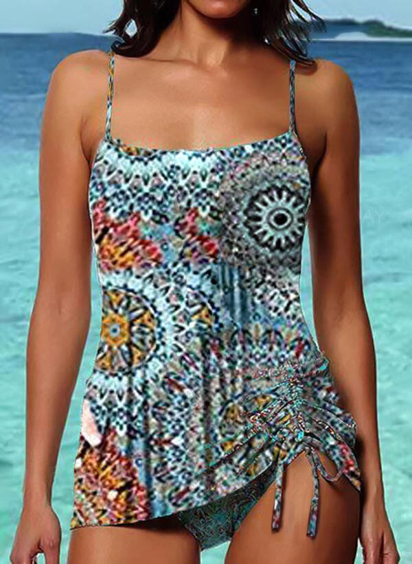 NEW! Floral Drawstring Strap Fashionable Bohemian Tankinis Swimsuits