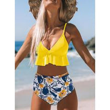 Load image into Gallery viewer, Print Push Up Ruffles Strap V-Neck Cute Bikinis Swimsuits