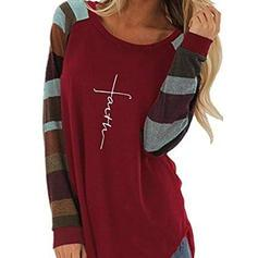 Print Color Block Round Neck Long Sleeves Casual T-shirt