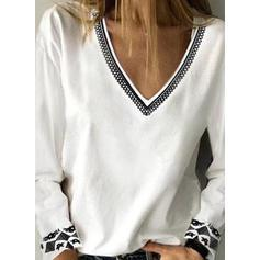 Print V-Neck Long Sleeves Casual Knit Blouses