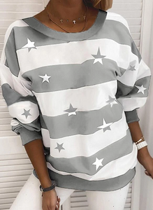Print Color Block Striped Round Neck Long Sleeves Casual T-shirts