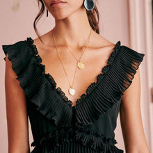 Load image into Gallery viewer, Pleated Ruffled Collar Elegant Holiday Dress