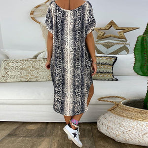 Casual V Neck Short Sleeve Loose Stripe Printed Colour Dress