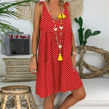 Load image into Gallery viewer, Fashionable Sleeveless Wave Point Printing Vacation Dress