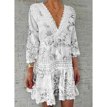 Load image into Gallery viewer, Lace/Print/Floral 3/4 Sleeves Shift Above Knee Casual/Elegant Dresses