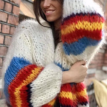 Load image into Gallery viewer, Fashion Casual Color Striped Long Sleeve Knit Cardigans