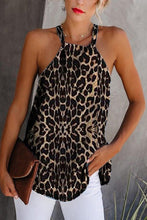 Load image into Gallery viewer, Leopard Round Neck Sleeveless Casual Tank Tops