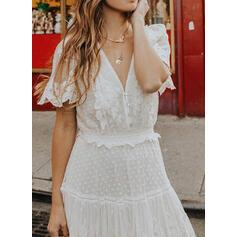 NEW! Lace/Solid Short Sleeves A-line Casual/Elegant Maxi Dresses