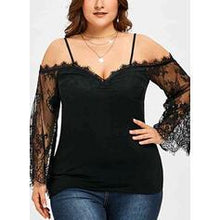 Load image into Gallery viewer, Solid Lace Cold Shoulder Long Sleeves Casual Plus Size Blouses
