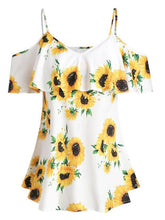 Load image into Gallery viewer, Sunflower Print Sling V-neck Blouse